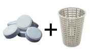 adding swimming pool chlorine tablets into skimmer basket