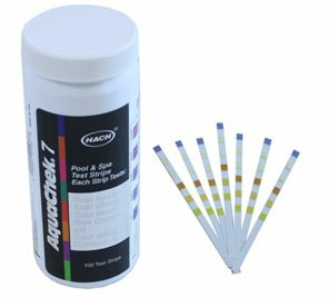 testing swimming pool pH with test strips